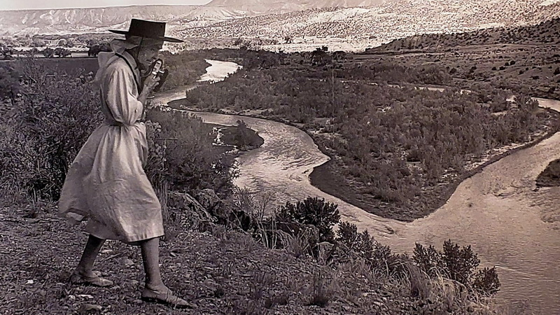 Georgia O'Keeffe, the photographer, near her Abiquiu home