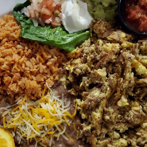 Machaca breakfast platter in the Yuma Landing