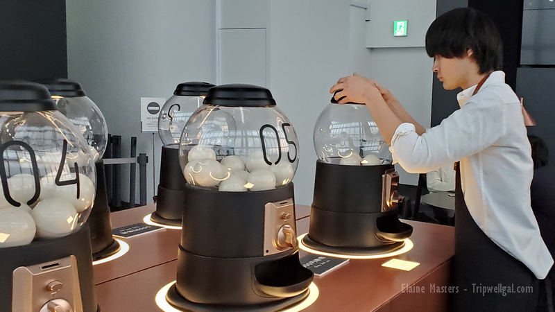 Coffee pod culture in the rooftop Mori Museum cafe.