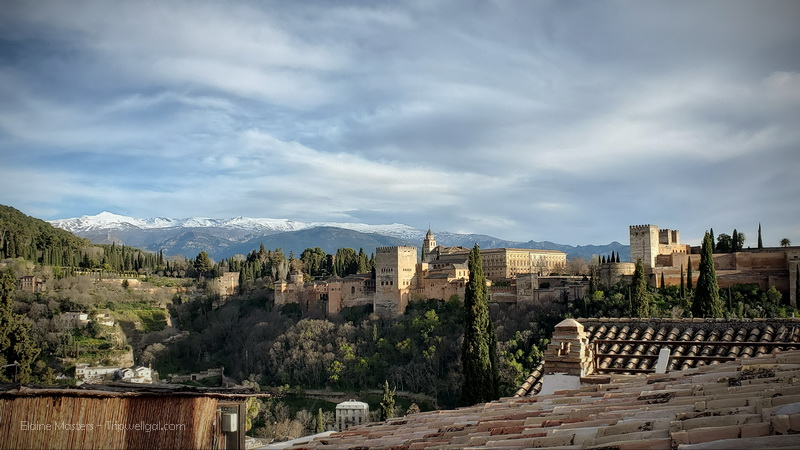 The view of the Alhambra from the plaza at San Nicolas in Granada Spain