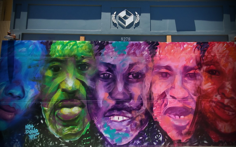 Mural artist interpretation of George Floyd and others who inspired the Black Lives Matter protests
