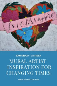 Mural artist heart pin from La Mesa