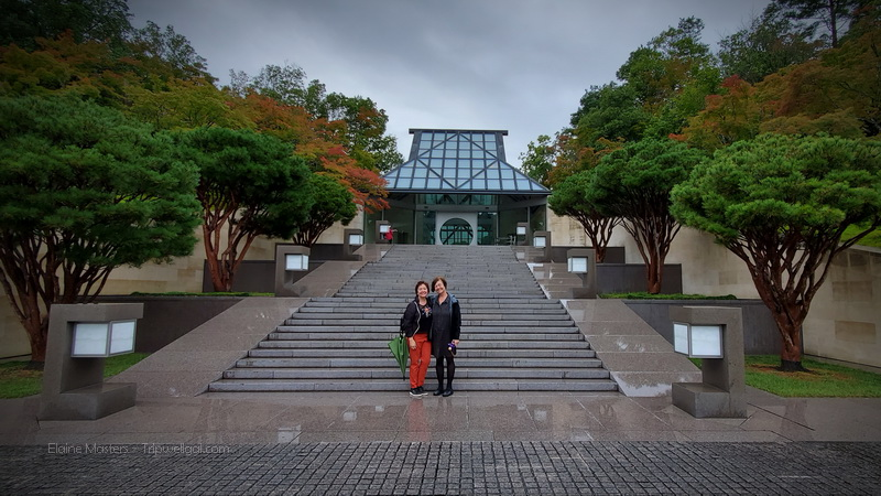 Elaine and Julie on the steps of the Miho Museum