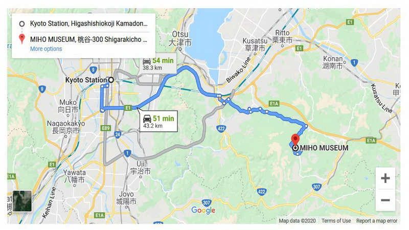 Map of route between Kyoto and the Miho Museum