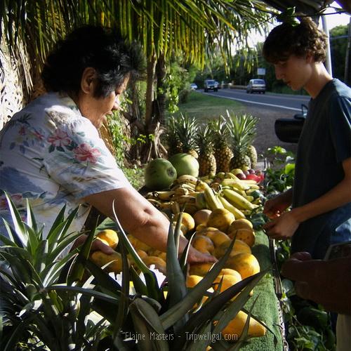 Selecting fruit at a North Shore Hawaiian fruit stand