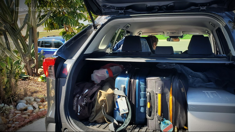 Car packed for a responsible traveler road trip