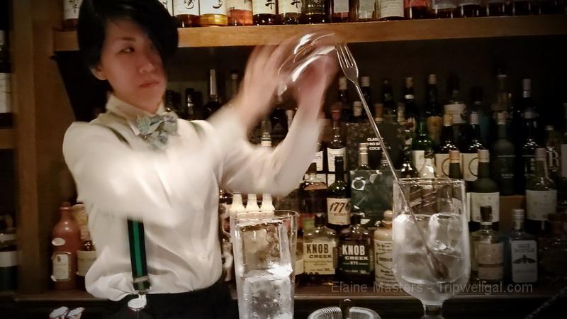 Award winning High Five Bar bartender, Kaori Kurakami in action
