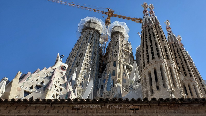 Looking up at the Sagrada Familia Cathedral from the street in Barcelona