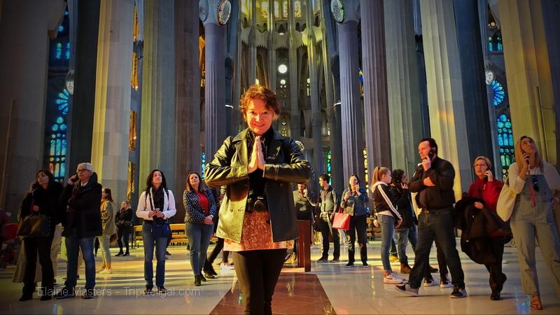Elaine inside Sagrada Familia