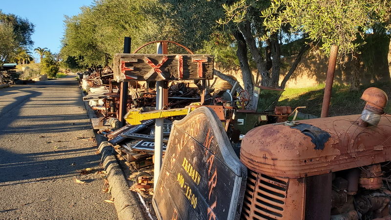 Authentic winery machinery on the grounds