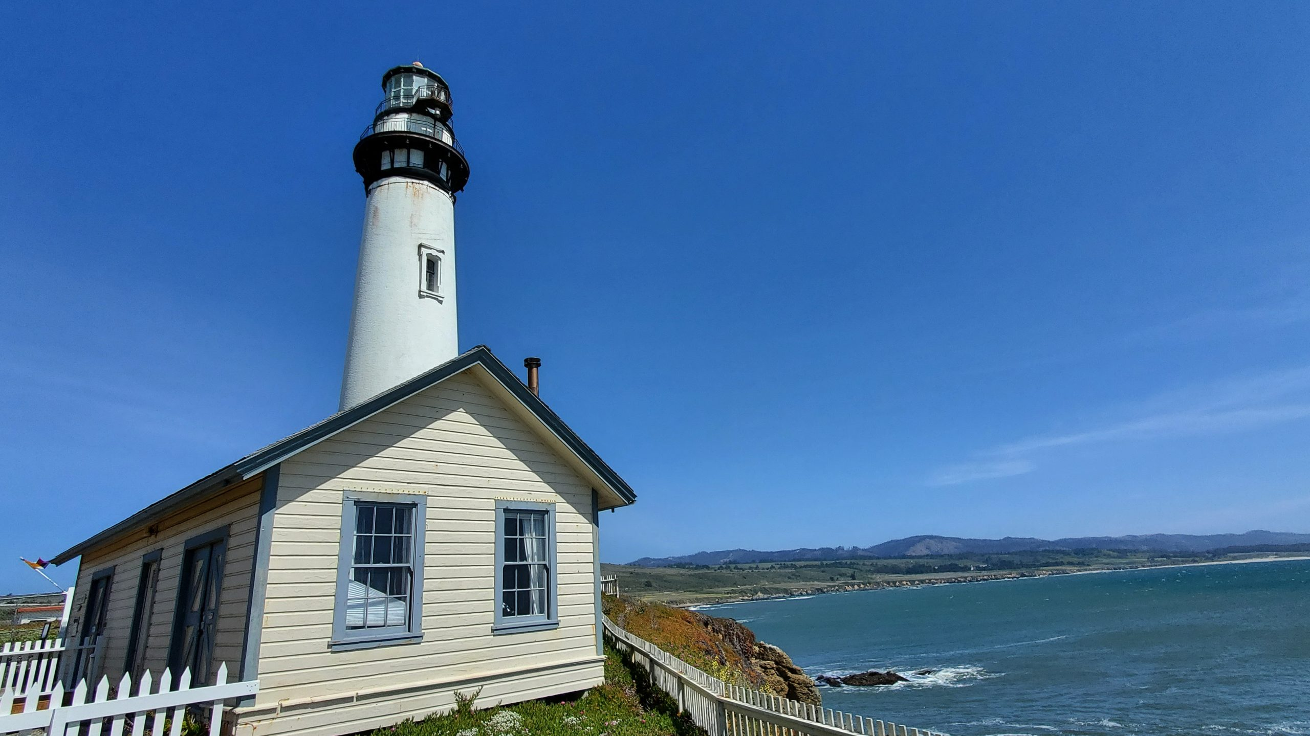 The Pigeon Point Lighthouse and the coast to the south